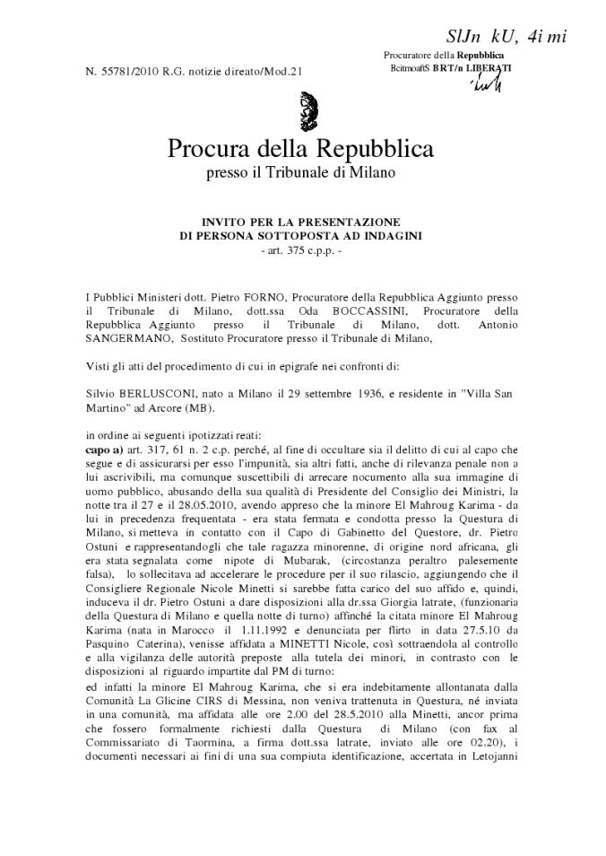 intercettazioni berlusconi ruby testo integrale minetti feste prostituzione