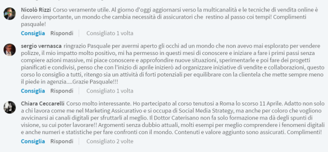 feedback recensioni corso pasquale caterisano social media marketing assicurativo